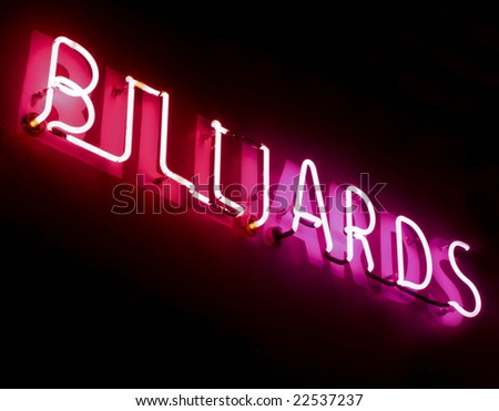 red and pink neon billiards sign - stock photo