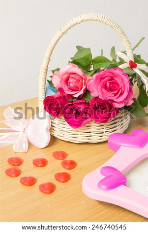 red and pink roses for Valentine's Day - stock photo