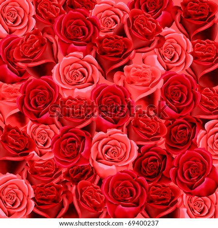 Red and pink roses wallpaper pattern - stock photo