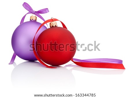 Red and Purple Christmas Ball with ribbon bow Isolated on white background - stock photo
