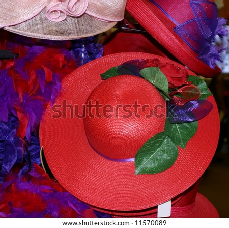 Red and purple hat. - stock photo