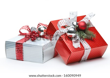 Red and silver box on white background - stock photo