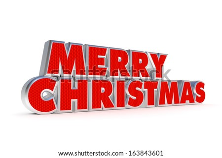 Red and silver Merry Christmas greetings on white background - stock photo