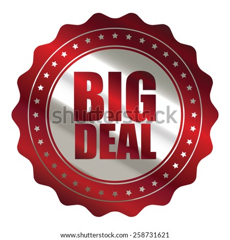 red and silver metallic big sale sticker, badge, icon, stamp, label, banner, sign isolated on white  - stock photo