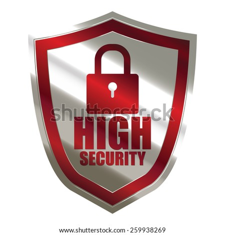 red and silver metallic high security badge, shield, sticker, sign, stamp, icon, label isolated on white - stock photo