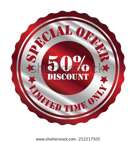 red and silver metallic special offer 50% discount limited time only sticker, sign, stamp, icon, label isolated on white - stock photo