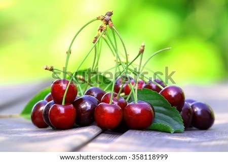 Red and sweet cherries
