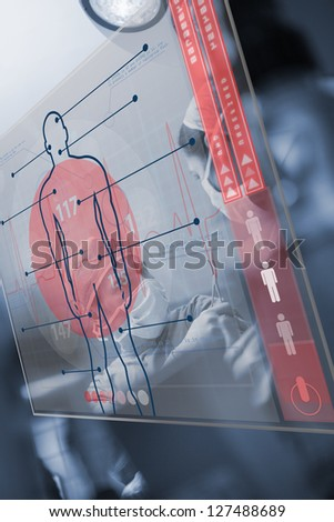 Red and transparent medical interface in the hospital - stock photo