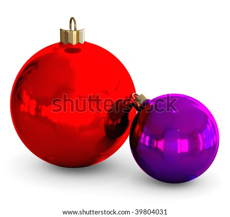 red and violet christmas balls