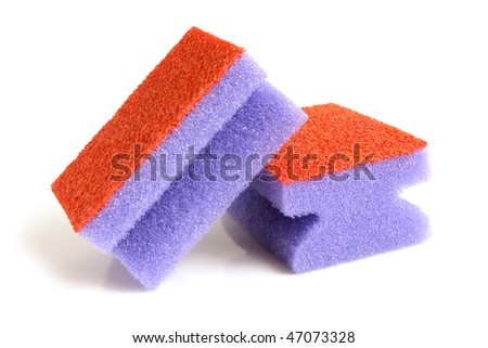 Red and violet sponges on a white background