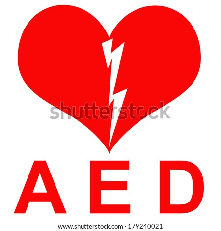 Red and white AED Sticker to indicate that there is a defibrillator located in the building or indicating the exact location - stock photo
