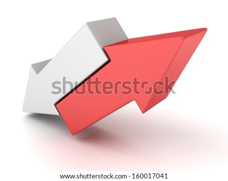 red and white against opponent concept arrows - stock photo