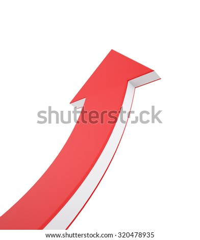 Red and White Arrow Up , Concept of Growth , 3d render - stock photo