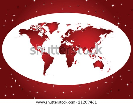 red and white background with world map and stars - vector version also available in portfolio - stock photo