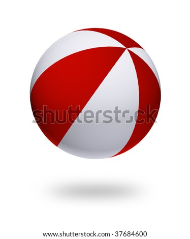 red and white ball toy. Isolated illustration