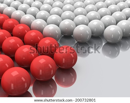 Red and white balls on mirror floor as abstract background. Orbs, sphere, glob concept. 3D render. - stock photo