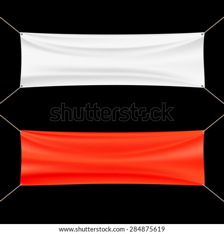 Red and white banner. - stock photo