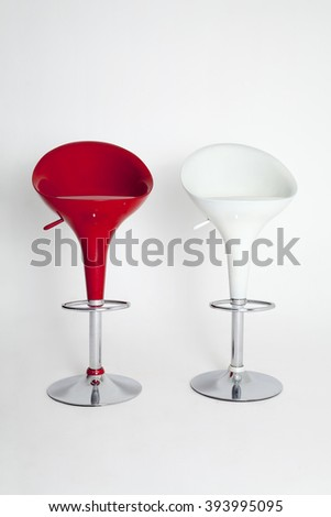 Red and White Bar Stools Isolated on White