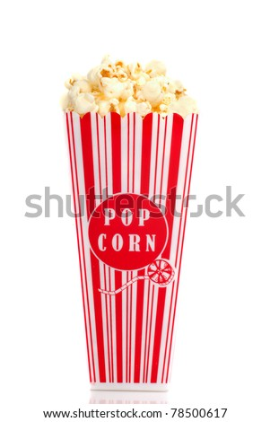 Red and white box of movie popcorn