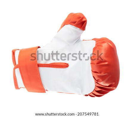 Red and white boxing glove isolated over the white background