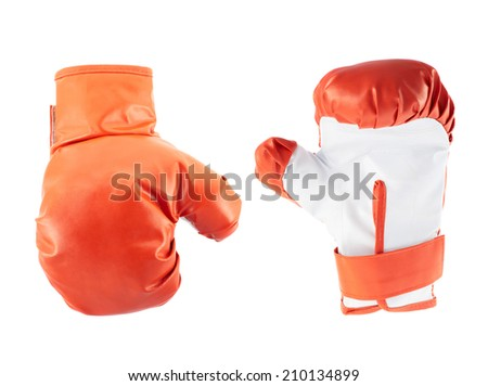 Red and white boxing gloves isolated over the white background - stock photo
