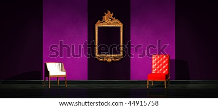 Red and white chair with antique frame in minimalist interior - stock photo