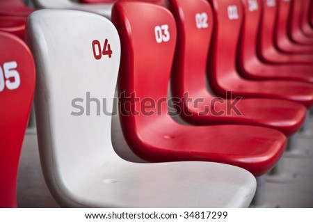 Red and white chairs - stock photo