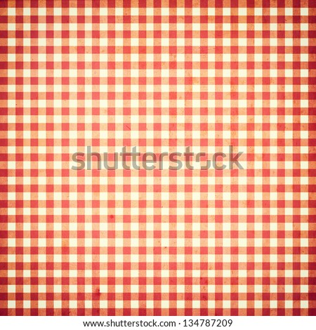 red and white checked grunge vintage background with seamless pattern - stock photo