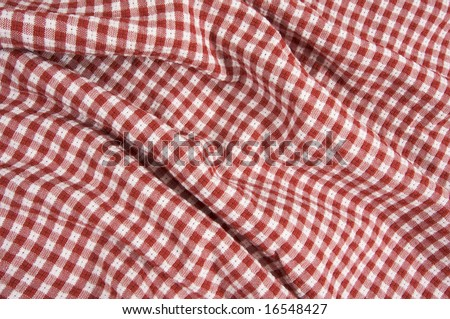 Red and White Checkered Picnic Blanket Detail - stock photo