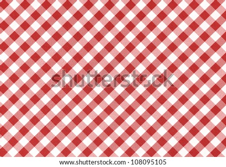 Red and white checkered tablecloth background, texture - stock photo