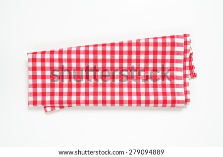 red and white checkered tablecloth on white background - stock photo