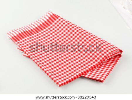 Red and white checkered tea towel