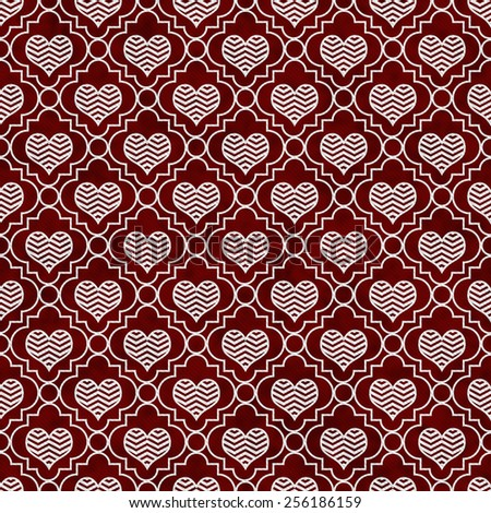 Red and White Chevron Hearts Tile Pattern Repeat Background that is seamless and repeats - stock photo