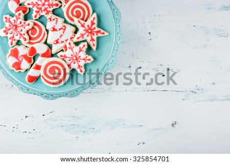 Red and White Christmas Cookies on a plate - stock photo