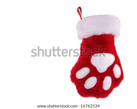 Red and white christmas stocking with paw print isolated on white background