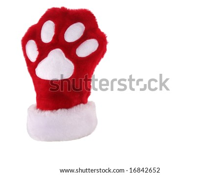 Red and white christmas stocking with paw print isolated on white background - stock photo