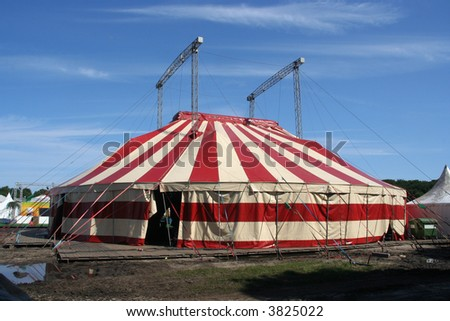 Red and white circus tent