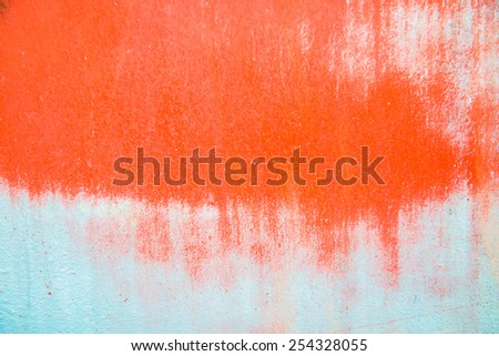 Red and white colour on steel surface, Thailand - stock photo