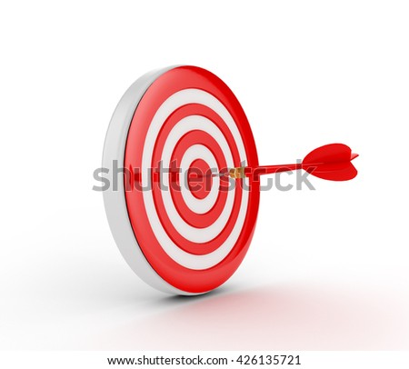 Red and white Dart Board. 3D rendering - stock photo