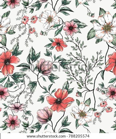 Red white flower allover on offwhite stock illustration 788205574 red and white flower allover on off white background hand drawn asia style mightylinksfo