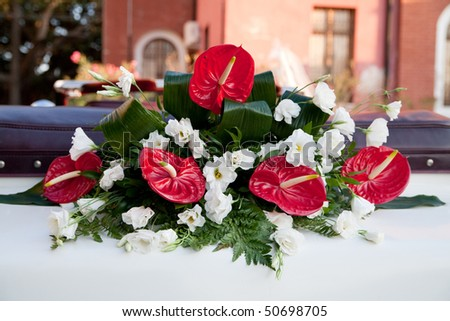 red and white flower buquet for wedding day - stock photo