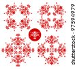 red and white folk floral decoration for easter, wedding and other festivities - stock photo
