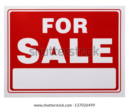 Red and White For Sale Sign with Copy Space Isolated on a White Background. - stock photo