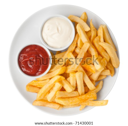 Red and white french fries chips - stock photo