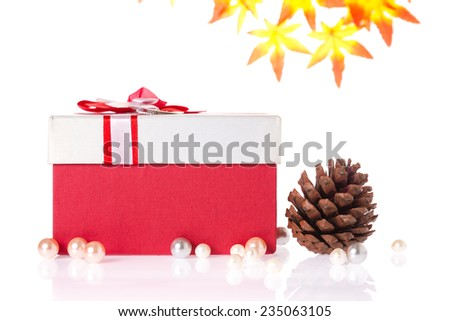 red and white gift box wrap by ribbon background with pine cone and maple leafs on white background. - stock photo