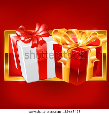 Red and white gift on red background. Raster copy.
