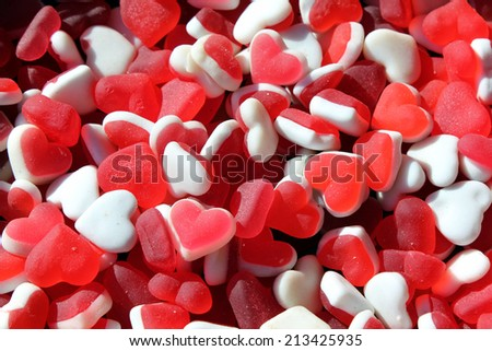 Red and white heart shaped gum candies - love and valentine's day concept - stock photo