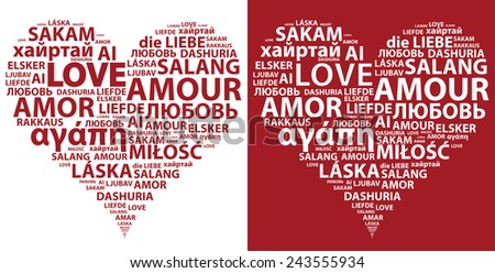 Red And White Hearts Made From Word Love In Different Languages