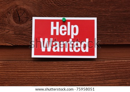 Red and White Help Wanted Sign - stock photo
