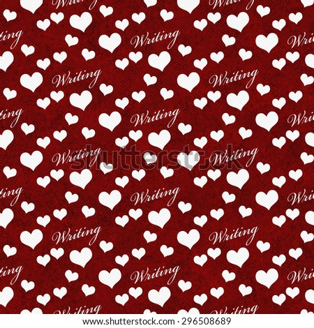 Red and White I Love Writing Tile Pattern Repeat Background that is seamless and repeats - stock photo